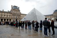 Striking workers block entry to Louvre Museum in Paris