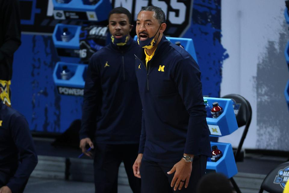 Michigan Wolverines head coach Juwan Howard reacts in the first half against the Florida State Seminoles during the Sweet 16 of the 2021 NCAA Tournament at Bankers Life Fieldhouse on March 28, 2021.
