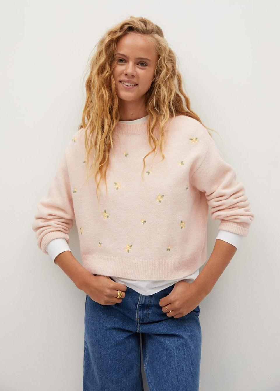 <p>The details on this <span>Mango Knit Embroidered Sweater</span> ($60) is too cute.</p>
