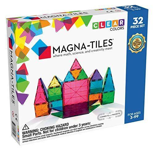 """<p><strong>Magna Tiles</strong></p><p>amazon.com</p><p><strong>$49.99</strong></p><p><a href=""""https://www.amazon.com/dp/B000CBSNKQ?tag=syn-yahoo-20&ascsubtag=%5Bartid%7C10055.g.4695%5Bsrc%7Cyahoo-us"""" rel=""""nofollow noopener"""" target=""""_blank"""" data-ylk=""""slk:Shop Now"""" class=""""link rapid-noclick-resp"""">Shop Now</a></p><p>This 32 piece set includes small and large squares, four different types of triangles and will have the kids in your life <strong>building 3d structure</strong> in no time. </p>"""