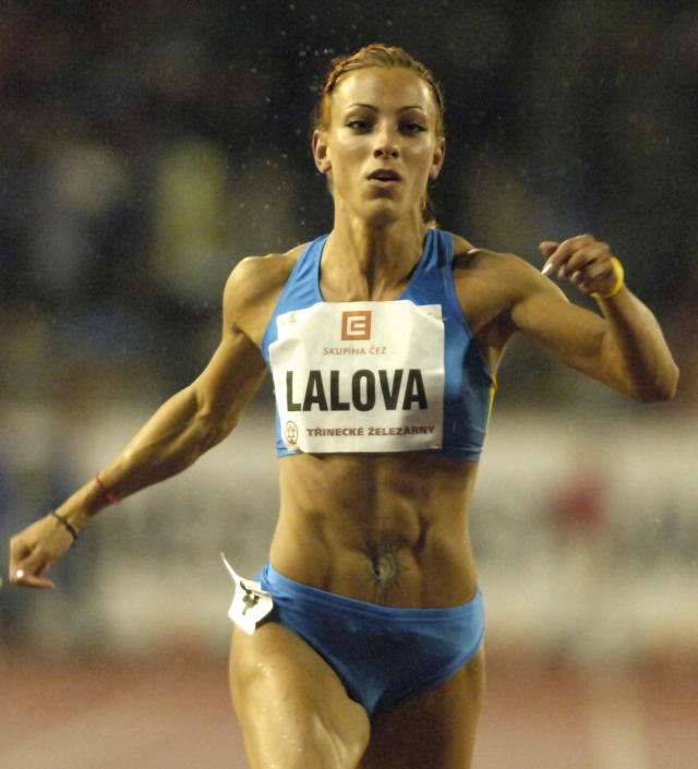 Ivet Lalova of Bulgaria on her way to win the womens 100 m sprint at the Golden Spike athletics meeting in Ostrava, Czech Republic, Thursday, June 9, 2005. (AP Photo/CTK, Michal Kamaryt)