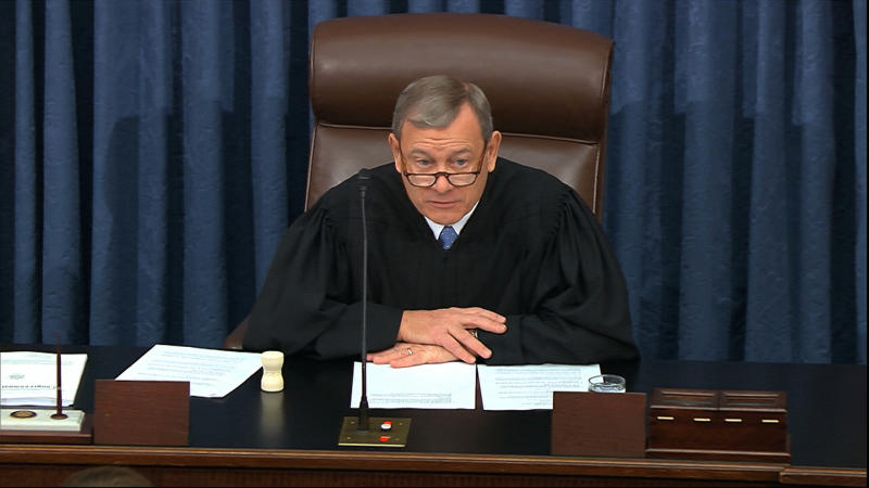 In this image from video, presiding officer Supreme Court Chief Justice John Roberts speaks during the impeachment trial against President Donald Trump in the Senate at the U.S. Capitol in Washington, Thursday, Jan. 23, 2020. (Senate Television via AP)