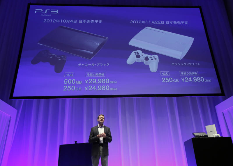 Sony Computer Entertainment Inc. President and CEO, Andrew House introduces the new PlayStation 3 during a news conference in Tokyo, Wednesday, Sept. 19, 2012. Sony Corp. is introducing a smaller, slimmer and lighter version of its PlayStation 3 home console ahead of the year-end holidays as it gears up for growing competition in games from smartphones. The global rollout starts Sept. 25 in North America, where the 250 gigabyte version will sell for $269. The other version sells for $299 from Oct. 30. In Japan, the models go on sale Oct. 4 for 29,980 yen ($380) and 24,980 yen ($316). (AP Photo/Itsuo Inouye)