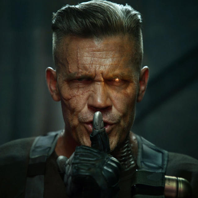 "<p>Our initial glimpse at Josh Brolin as Deadpool's longtime frenemy in the comics, the time-hopping mutant Cable. ""We all have that one, grumpy, heavily armed Uncle from the future. #PremiumCABLE,"" Reynolds tweeted on Aug. 7. (Credit: <a href=""https://twitter.com/VancityReynolds/status/894579873301311490"" rel=""nofollow noopener"" target=""_blank"" data-ylk=""slk:Ryan Reynolds/Twitter"" class=""link rapid-noclick-resp"">Ryan Reynolds/Twitter</a>) </p>"