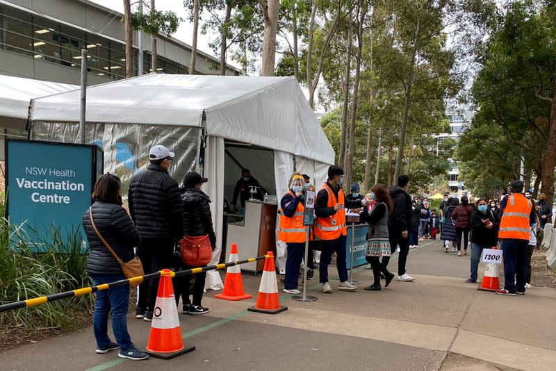 FILE PHOTO: FILE PHOTO: COVID-19 vaccination centre at Sydney Olympic Park in Sydney