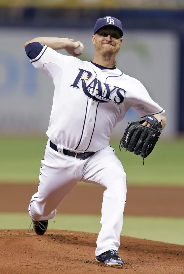 Tampa Bay Rays starting pitcher Alex Cobb delivers to the Milwaukee Brewers during the first inning of a baseball game Tuesday, July 29, 2014, in St. Petersburg, Fla. (AP Photo/Chris O'Meara)
