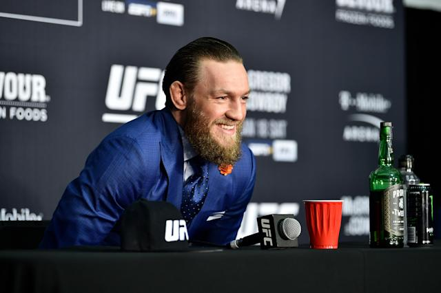 A medical clinic in Dublin was down to its last gown when Conor McGregor and his team showed up with more on Wednesday. (Chris Unger/Zuffa LLC/Getty Images)