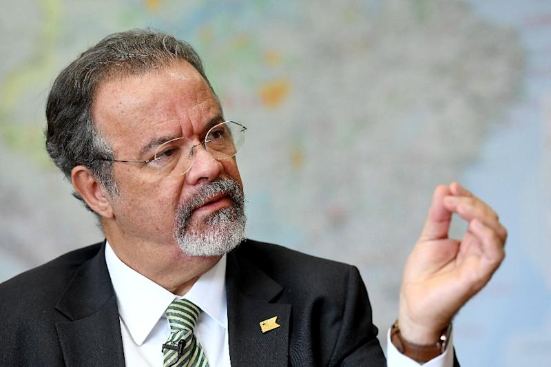 Brazilian Defense Minister Raul Jungmann speaks duing interview with AFP at the Defence Ministry in Brasilia on November 25, 2016