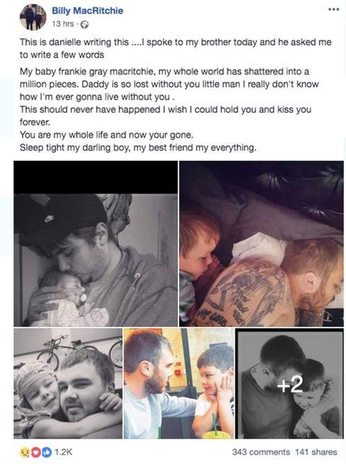 A message posted on behalf of Billy MacRitchie, father of Frankie MacRitchie, who died after being attacked by a dog at a holiday park in Looe, Cornwall, on Saturday.