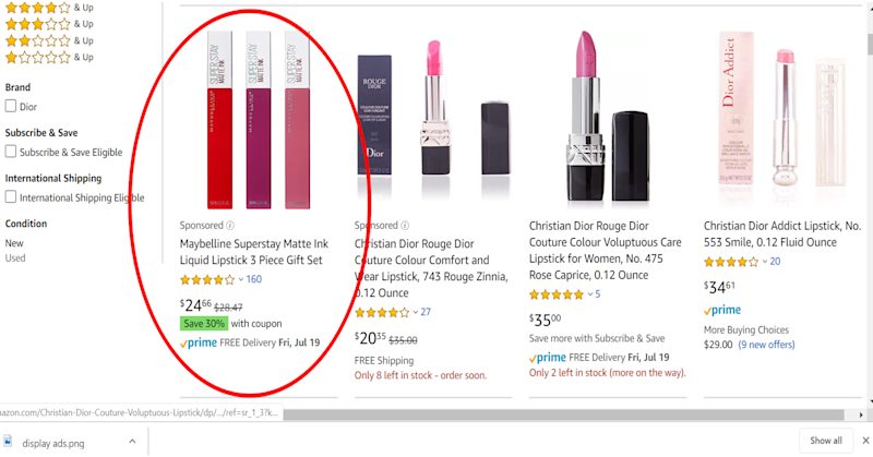 """A Maybelline Lipstick shows up first after searching for """"Christian Dior lipstick"""""""