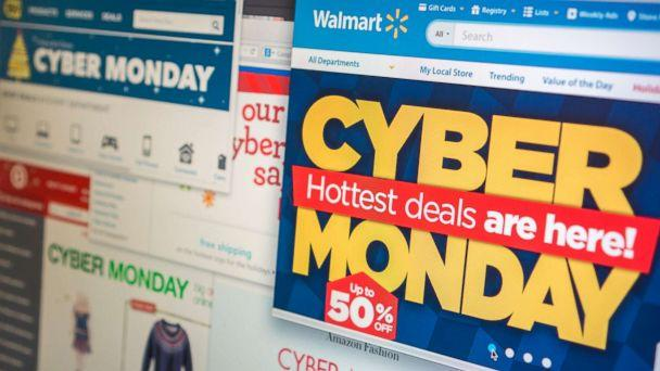 PHOTO: A collection of websites tout their Cyber Monday sales on Monday, Dec. 1, 2014. (Richard B. Levine via Newscom, FILE)