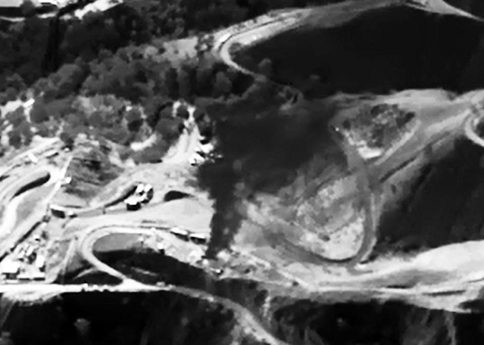 An infrared image shows methane gas leaking.