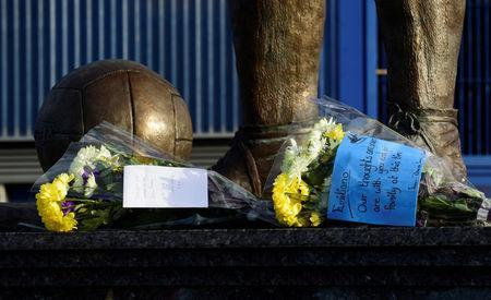 Soccer Football - Cardiff City Press Conference - Cardiff City Stadium, Cardiff, Britain - January 22, 2019 General view of tributes left outside the stadium for Emiliano Sala REUTERS/Rebecca Naden