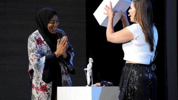 PHOTO: U.S. Olympic Medalist Ibtihaj Muhammad and model/host Ashley Graham reveal the Ibtihaj Muhammad Barbie doll during Glamour Celebrates 2017 Women Of The Year Live Summit at Brooklyn Museum, Nov. 13, 2017, in New York City. (Craig Barritt/Getty Images for Glamour)