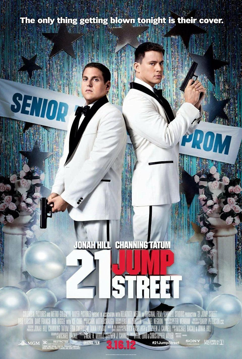 """<p><a class=""""link rapid-noclick-resp"""" href=""""https://www.amazon.com/21-Jump-Street-Jonah-Hill/dp/B0081L37Z0?tag=syn-yahoo-20&ascsubtag=%5Bartid%7C10070.g.37101104%5Bsrc%7Cyahoo-us"""" rel=""""nofollow noopener"""" target=""""_blank"""" data-ylk=""""slk:STREAM NOW""""><strong>STREAM NOW</strong></a></p><p>When two youthful-looking cops go undercover as high school students at their former school, they're faced with familiar challenges and anxiety-inducing situations that they endured during adolescence. Jonah Hill and Channing Tatum star in this film based on the popular '80s TV series of the same title.</p>"""
