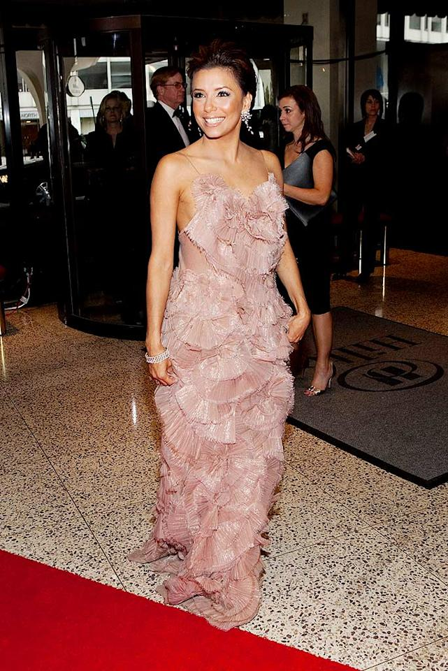 """Eva Longoria Parker was tickled pink in this ruffled Ports 1961 creation. Paul Morigi/<a href=""""http://www.wireimage.com"""" target=""""new"""">WireImage.com</a> - May 9, 2009"""