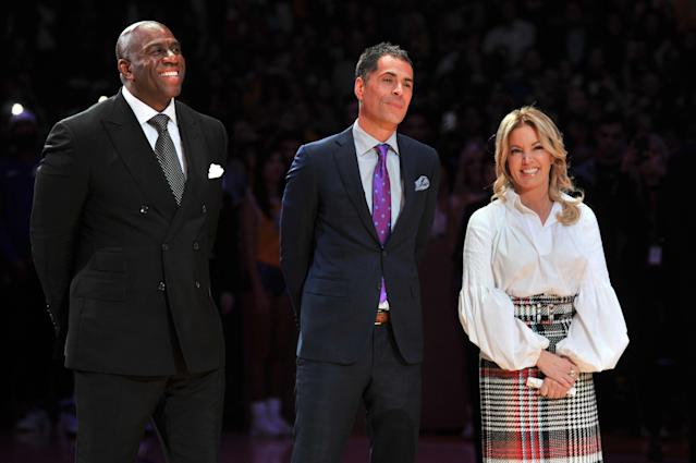 The Lakers' Rob Pelinka and Jeanie Buss are reportedly hiring a coach first rather than fill Magic Johnson's absence. (Photo by Allen Berezovsky/Getty Images)