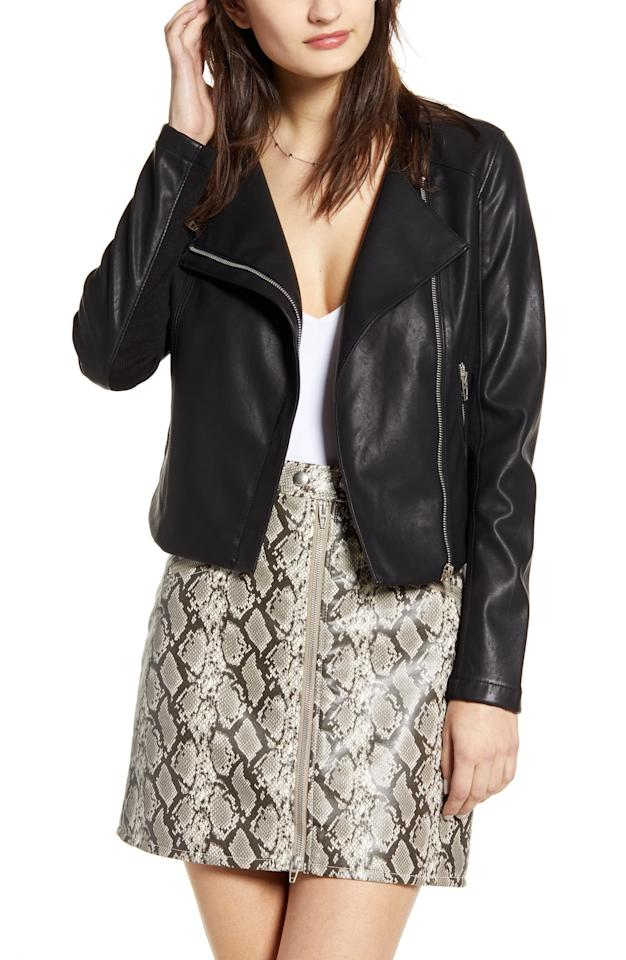 """<p>This <a href=""""https://www.popsugar.com/buy/BlankNYC-Record-Breaker-Collarless-Faux-Leather-Moto-Jacket-477752?p_name=BlankNYC%20Record%20Breaker%20Collarless%20Faux%20Leather%20Moto%20Jacket&retailer=shop.nordstrom.com&pid=477752&price=98&evar1=fab%3Aus&evar9=46479254&evar98=https%3A%2F%2Fwww.popsugar.com%2Ffashion%2Fphoto-gallery%2F46479254%2Fimage%2F46479257%2FBlankNYC-Record-Breaker-Collarless-Faux-Leather-Moto-Jacket&list1=shopping%2Cfall%20fashion%2Cfall%2Cleather&prop13=api&pdata=1"""" rel=""""nofollow"""" data-shoppable-link=""""1"""" target=""""_blank"""" class=""""ga-track"""" data-ga-category=""""Related"""" data-ga-label=""""https://shop.nordstrom.com/s/blanknyc-record-breaker-collarless-faux-leather-moto-jacket-regular-plus-size/5270861?origin=keywordsearch-personalizedsort&amp;breadcrumb=Home%2FAll%20Results&amp;color=moonlighting%2F%20black"""" data-ga-action=""""In-Line Links"""">BlankNYC Record Breaker Collarless Faux Leather Moto Jacket</a> ($98) goes with everything.</p>"""