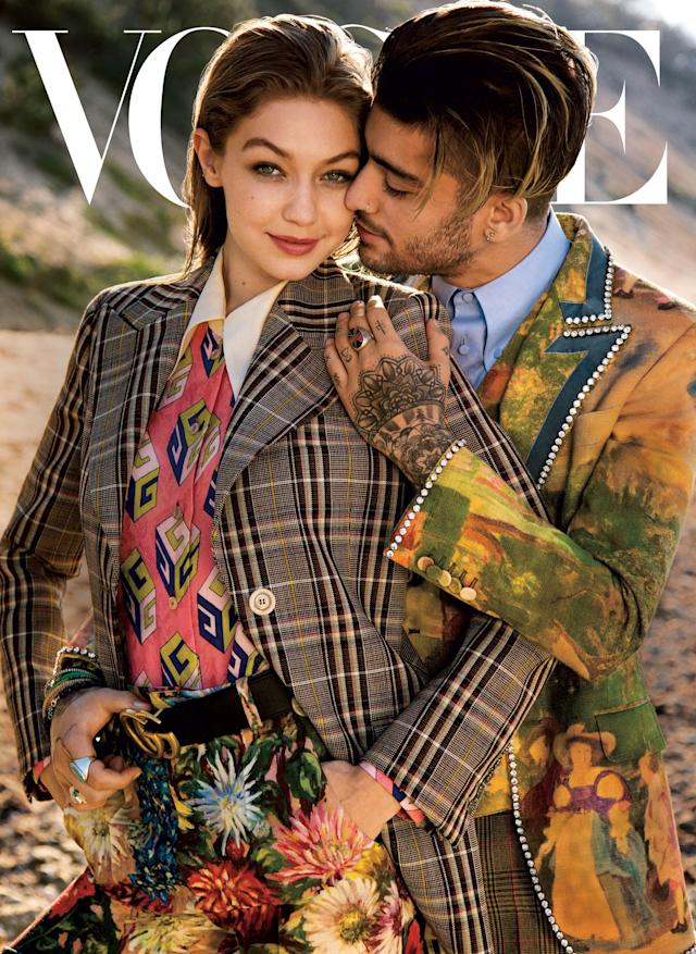 <p>18. Zayn and his ladylove looked h-o-t on the August 2017 cover of <em>Vogue</em> — though the article didn't get a great reception. (Photo: Vogue) </p>