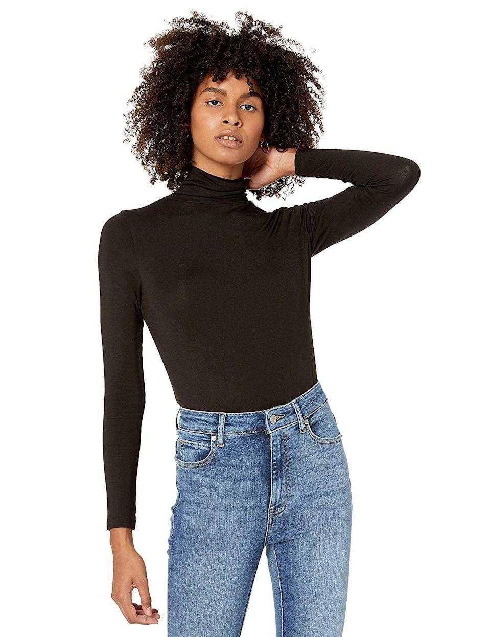 <p>You should have a basic like this <span>The Drop Phoebe Long-Sleeved Turtleneck Fitted T-Shirt</span> ($20-$25).</p>