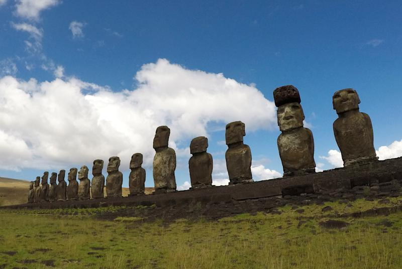 """Statues named """"Moai"""" are seen on a hill at the Easter Island, Chile  January 31, 2019. Picture taken January 31, 2019. REUTERS/Jorge Vega"""
