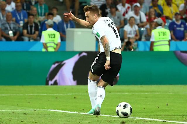 Soccer Football - World Cup - Group F - Germany vs Sweden - Fisht Stadium, Sochi, Russia - June 23, 2018 Germany's Marco Reus misses a chance to score REUTERS/Michael Dalder