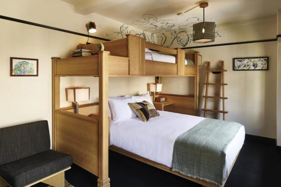 The Three's Company room at Freehand: a single bunk above a double-bed (Adrian Gaut/Freehand)