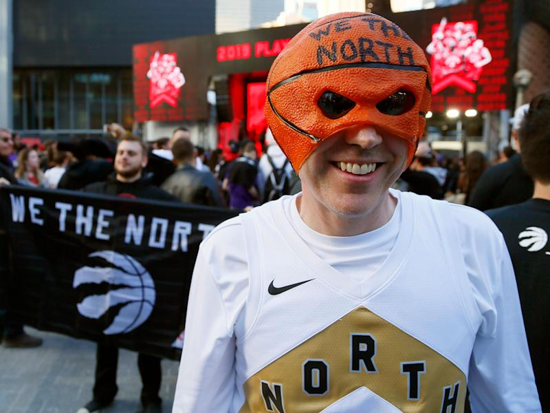 Toronto Raptors fans in the area of Toronto known as Jurassic Park before game four of the Eastern Conference Finals of the 2019 NBA Playoffs. John E. Sokolowski/USA TODAY Sports