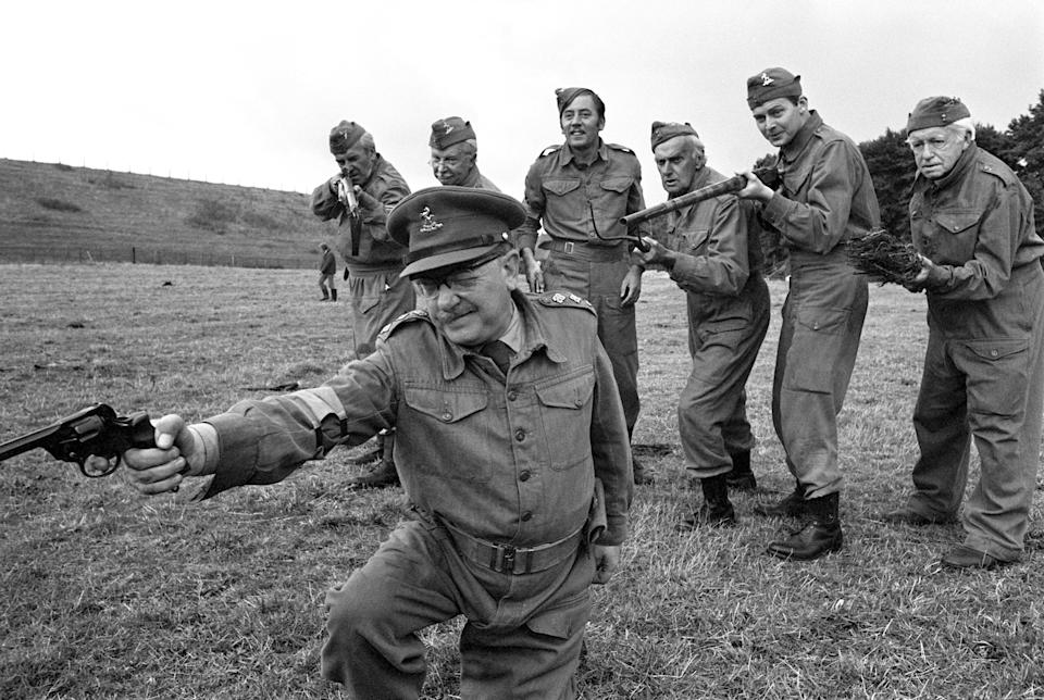 """The cast from the BBC's hit comedy, """"Dad's Army"""", in a scene from one of the famous episodes of the show. The cast are Arthur Lowe (foreground) and (background L-R) John Le Mesurier, Clive Dunn, James Beck, John Laurie, Ian Lavender and Arnold Ridley.   (Photo by PA Images via Getty Images)"""