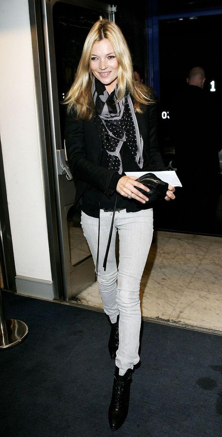 <p>Kate Moss inspiring yet another denim trend: gray washes.</p>
