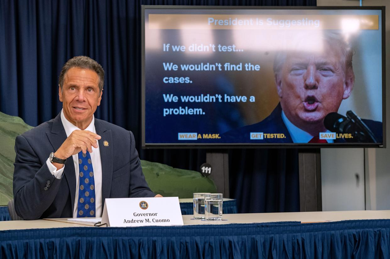 New York Governor Andrew Cuomo speaks during a COVID-19 briefing on July 6, 2020, in New York City. On the 128th day since the first confirmed case in New York and on the first day of phase 3 of the reopening, Gov. Cuomo asked New Yorkers to continue to be smart while citing the rise of infections in other states.