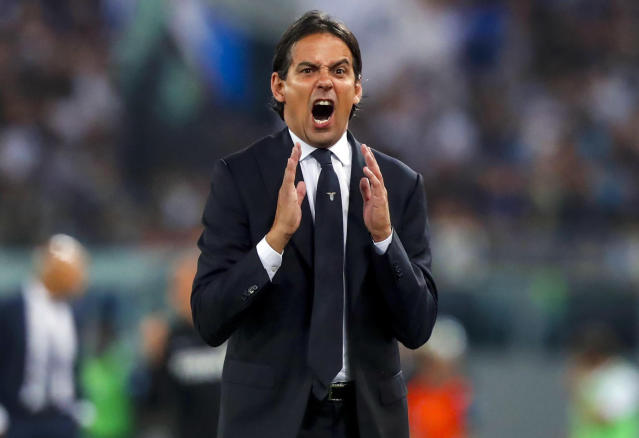 Lazio coach Simone Inzaghi shouts during the Serie A soccer match between Lazio and Inter Milan at the Rome Olympic Stadium Sunday, May 20, 2018. (Angelo Carconi/ANSA via AP)