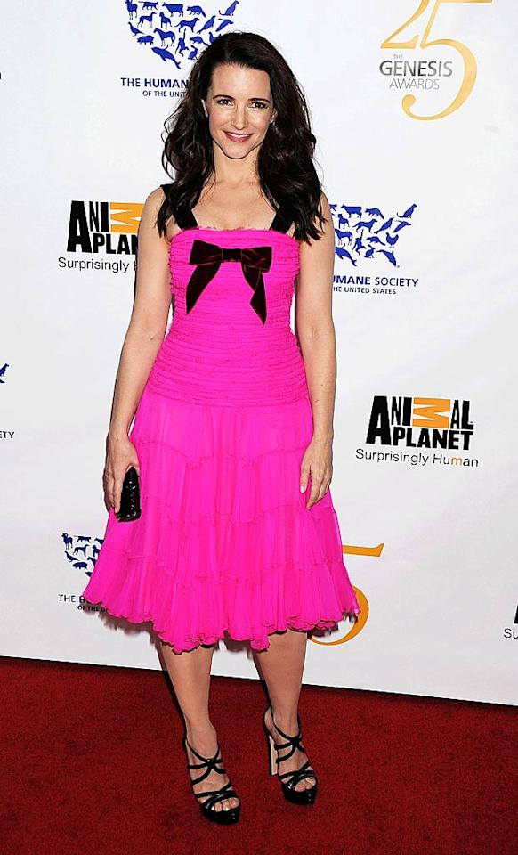 "Also spotted sporting a bow-adorned dress ... ""Sex and the City's"" Kristin Davis, who was cute as can be at the 25th Anniversary Genesis Awards in a pink chiffon Oscar de la Renta frock and patent leather Miu Miu sandals. Jeffrey Mayer/<a href=""http://www.wireimage.com"" target=""new"">WireImage.com</a> - March 19, 2011"