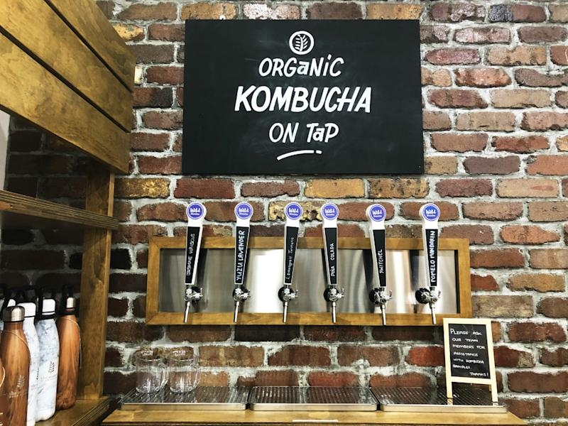 Six different types of Kombucha fermented teas served on tap. Photo: Coconuts Media