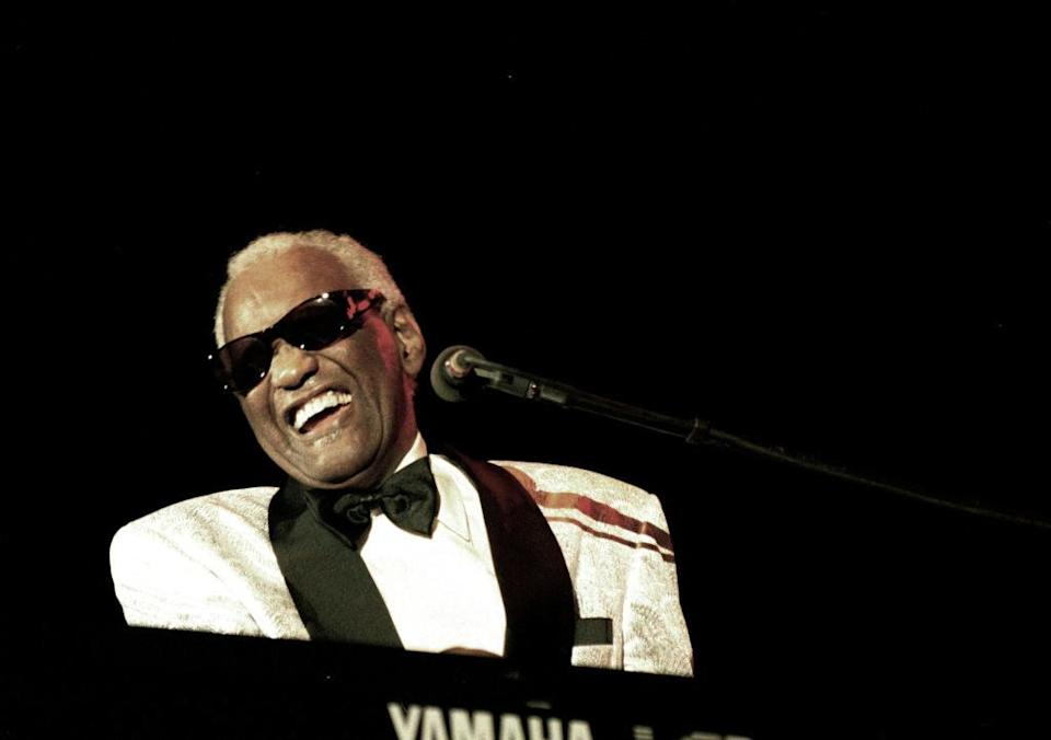 Ray Charles performs on stage