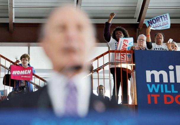 PHOTO: Supporters of Democratic presidential candidate Michael Bloomberg cheer for him while he speaks at a campaign event in Raleigh, N.C., Feb. 13, 2020. (Jonathan Drake/Reuters)