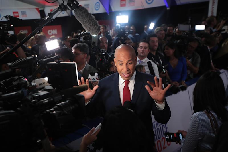 Sen. Cory Booker speaks to the media in the spin room after the debate. (Photo: Scott Olson/Getty Images)