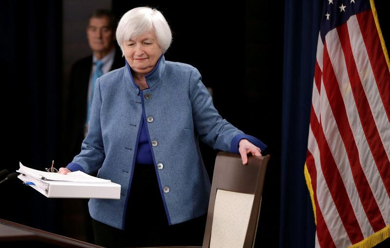 FILE PHOTO - Federal Reserve Chair Yellen arrives for news conference following FOMC meeting in Washington