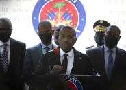 Haiti's interim Prime Minister Claude Joseph gives a press conference in Port-au-Prince, Friday, July 16, 2021, the week after the assassination of Haitian President Jovenel Moïse's on July 7. (AP Photo/Joseph Odelyn)