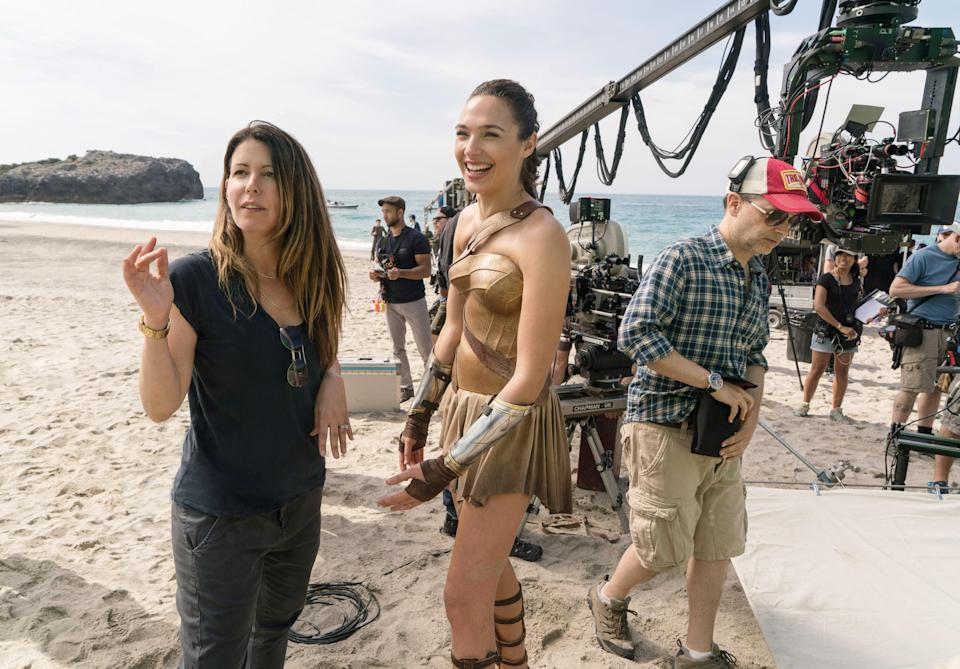 Patty Jenkins and Gal Gadot on the set of <em>Wonder Woman</em>. (Photo: Clay Enos/Warner Bros./Courtesy of Everett Collection)