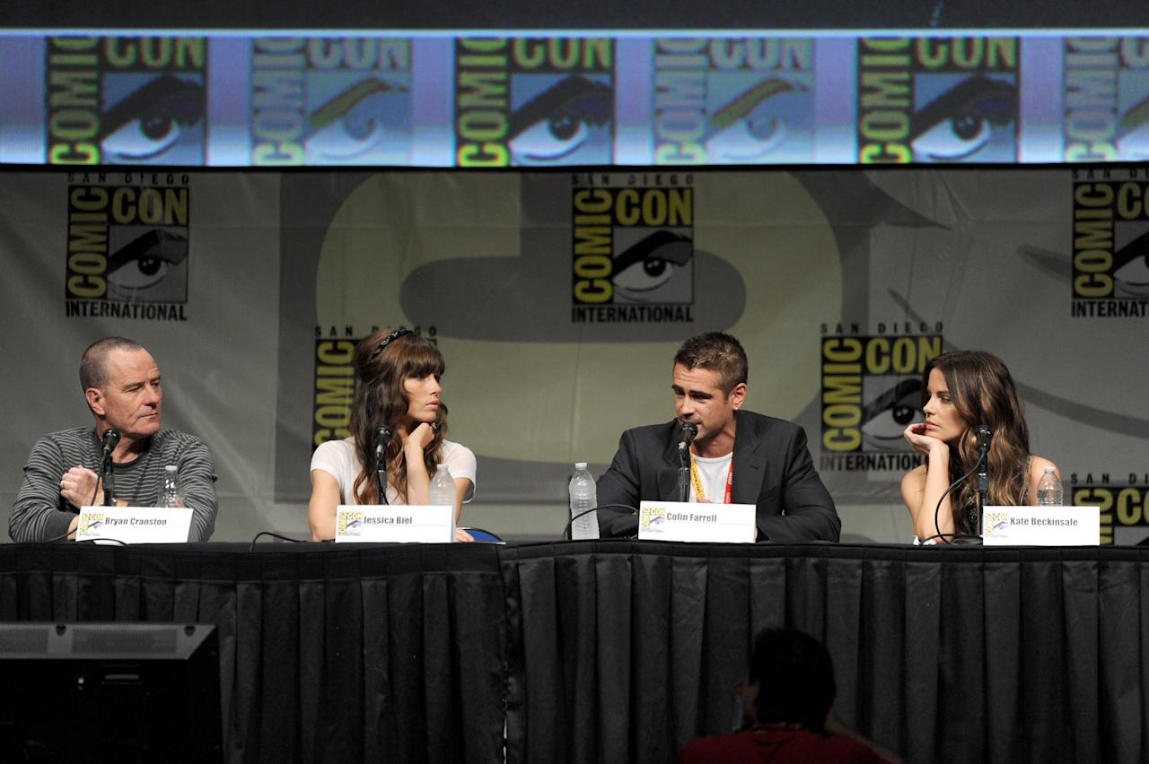 """SAN DIEGO, CA - JULY 13:  (L-R) Actors Bryan Cranston, Jessica Biel, Colin Farrell, and Kate Beckinsale speak during Sony's """"Total Recall"""" panel during Comic-Con International 2012 at San Diego Convention Center on July 13, 2012 in San Diego, California.  (Photo by Kevin Winter/Getty Images)"""