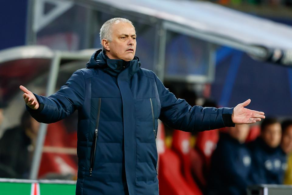 The bottom is falling out for Jose Mourinho and Tottenham, a fact laid bare in Tuesday's loss at RB Leipzig. (Photo by Roland Krivec/DeFodi Images via Getty Images)