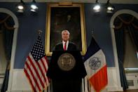 New York City Mayor Bill de Blasio speaks to the news media about NYPD officer Pantaleo in New York