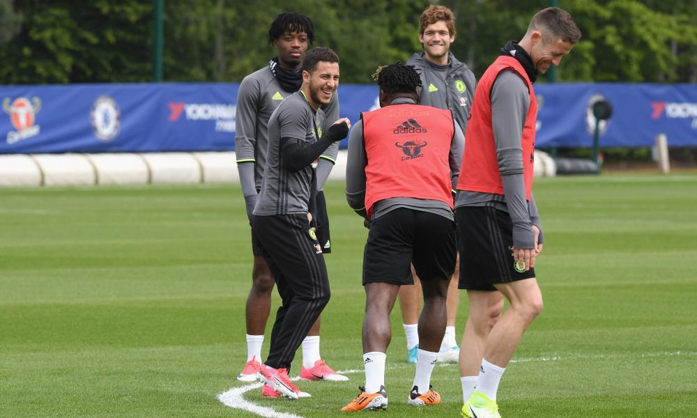 Eden Hazard is all smiles in training as Chelsea prepare for their trip to Goodison Park