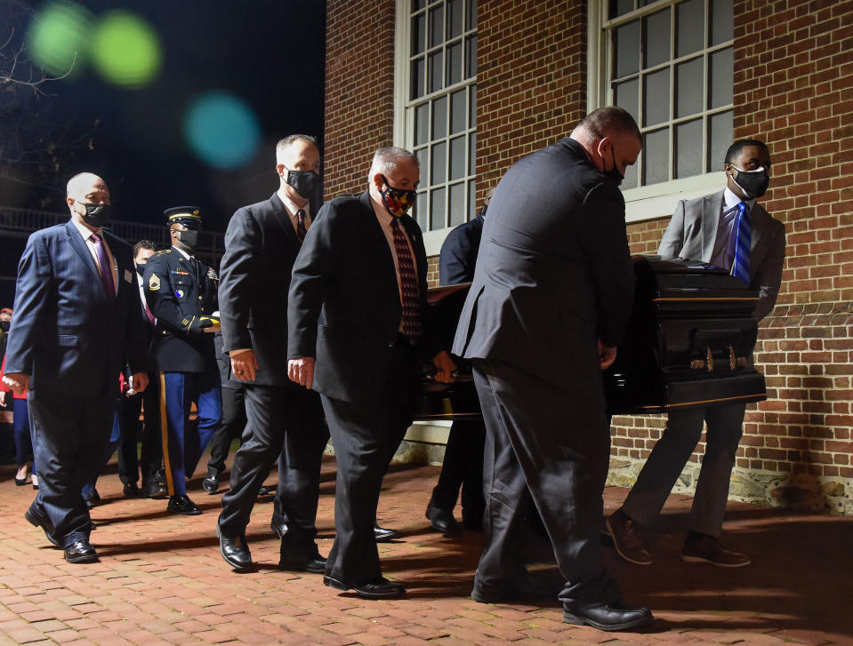 "Former Maryland Senate President Thomas V. ""Mike"" Miller, who died following complications from cancer last week, is transported into the Maryland State House for a final viewing in Annapolis, Md., Thursday, Jan. 21, 2021. (Ulysses Muñoz/The Baltimore Sun via AP, Pool)"