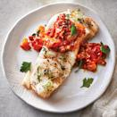 <p>Mellow, slightly sweet and devoid of the overt fishy flavor that's polarizing for so many, this slow-cooker cod is perfect for pairing with a show-stopping sauce like this tomato-balsamic jam. Diced pancetta provides a salty counterpart to the sweet onion, tomatoes, vinegar and honey and gives the jam complexity. Garnish with fresh thyme sprigs, if desired.</p>