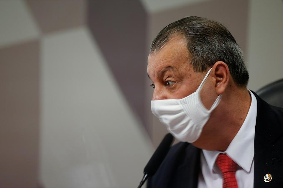 Brazilian Senators Omar Aziz looks on during a meeting of the Parliamentary Inquiry Committee (CPI) to investigate government actions and management during the coronavirus disease (COVID-19) pandemic, at the Federal Senate in Brasilia, Brazil May 25, 2021. REUTERS/Adriano Machado