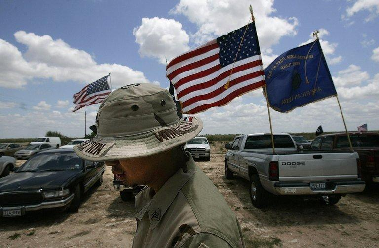 A US army veteran of the 2003-04 Iraq War at a Memorial Day weekend service in Benavides, Texas on May 27, 2006