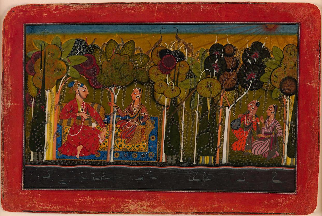&quot;A Nobleman and His Devoted Wife Seated in the&amp;nbsp;Forest; Two Female Musicians Attend.&quot;&amp;nbsp;Illustrated folio probably from an unidentified nayaka-<br>nayika (hero-heroine) series&amp;nbsp;Punjab Hills, kingdom of Basohli, ca. 1685.&amp;nbsp;Opaque watercolor, gold, and applied beetle-wing&amp;nbsp;cases on paper; wide red border with black, silver (now&amp;nbsp;tarnished), and striated white inner rules; black outer&amp;nbsp;rule (missing right corner of folio replaced); painting 6&amp;nbsp;11/16 x 11 in.&amp;nbsp;Promised Gift of the Kronos Collections, 2015.