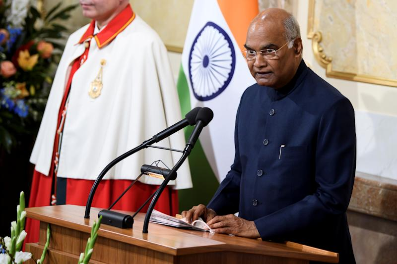 President of India Ram Nath Kovind speaks during his state visit to Switzerland, at the Muensterplatz in Bern, Switzerland September 13, 2019. Peter Schneider/Pool via REUTERS